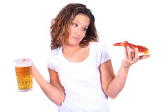 Attractive Young Woman With Food and Drink Royalty Free Stock Photo