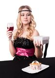 Attractive young woman get gift Royalty Free Stock Photography
