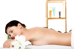 Attractive young woman getting spa treatment Stock Images