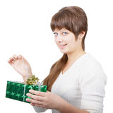 Attractive young woman with a gift Stock Images