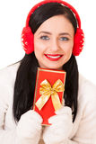 Attractive Young Woman with Gift Box. Attractive Young Woman with Red Gift Box Stock Photos