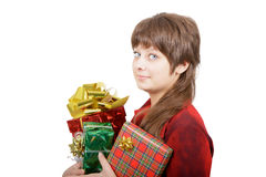 Attractive young woman with gift boxes Stock Photography