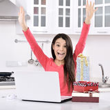 Attractive young woman with gift boxes Royalty Free Stock Photo
