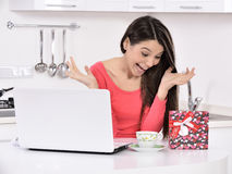 Attractive young woman with gift boxes Royalty Free Stock Image