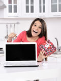 Attractive young woman with gift boxes Royalty Free Stock Images