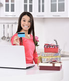 Attractive young woman with gift boxes Royalty Free Stock Photography