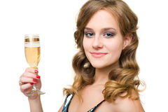 Attractive young woman with glass of champagne. Stock Image