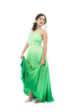 Attractive young woman in green dress Royalty Free Stock Image