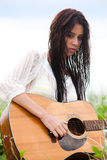 Attractive Young Woman With Guitar Royalty Free Stock Images