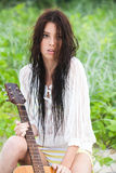 Attractive Young Woman With Guitar Stock Photos