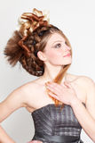 Attractive young woman with hairstyle Royalty Free Stock Photography