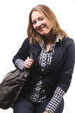 Attractive young woman with handbag royalty free stock photography