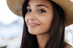 Attractive young woman in hat. Smiling Royalty Free Stock Photo