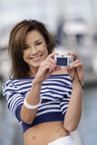 Attractive Young Woman having fun at Marina Royalty Free Stock Photos