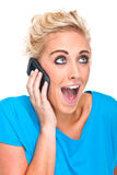 Attractive Young Woman Hearing Very Good News Royalty Free Stock Photos