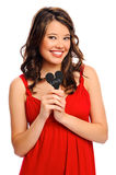 Attractive young woman with heart Royalty Free Stock Images