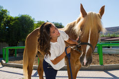 Attractive young woman with her horse at the Stock Image