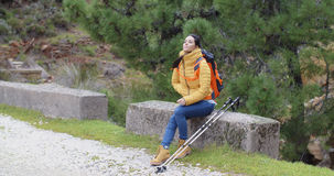 Attractive young woman hiking in the mountains Royalty Free Stock Photo