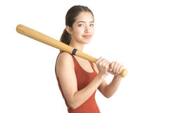 Attractive young woman holding baseball bat Royalty Free Stock Photo