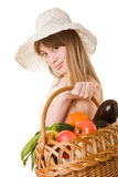 An attractive young woman holding a basket of deli Royalty Free Stock Images