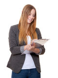 Attractive young woman holding clipboard Stock Photos