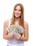Attractive young woman holding dollar notes Royalty Free Stock Photos