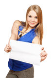 Attractive young woman holding empty white board Stock Image