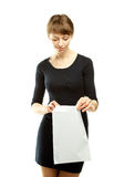 Attractive young woman holding envelope/letter Royalty Free Stock Images