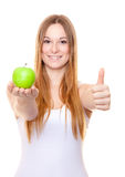 Attractive young woman holding green apple Stock Image