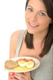Attractive Young Woman Holding a Healthy Norwegian Breakfast Royalty Free Stock Photos