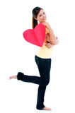 Attractive Young Woman Holding Heart Sign Royalty Free Stock Photos