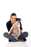 Woman holding dog Stock Image