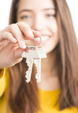 Attractive young woman holding keys Stock Image