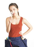 Attractive young woman holding monkey wrench Stock Photo