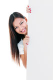 Attractive Young Woman Holding Placard Stock Images