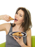 Attractive Young Woman Holding a Plate of Chinese Style Sesame T Royalty Free Stock Photos