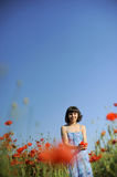 Young Woman witj Poppies Royalty Free Stock Photos