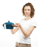 Attractive young woman holding saucepan Royalty Free Stock Photos