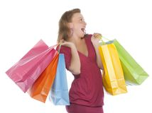 Attractive young woman holding several shoppingba Royalty Free Stock Images