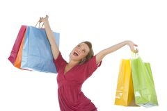 Attractive young woman holding several shoppingba Stock Photos