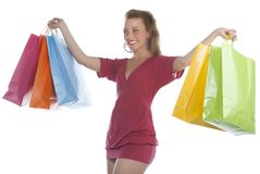 Attractive young woman holding several shoppingba Stock Image