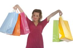 Attractive young woman holding several shoppingba Stock Images