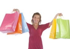 Attractive young woman holding several shoppingbag Royalty Free Stock Photo