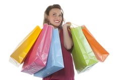 Attractive young woman holding several shoppingbag Stock Photography