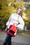 Attractive young woman holding shopping bags Stock Photography
