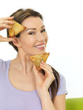 Attractive Young Woman Holding Spicy Vegetarian Samosa Savory Sn Stock Photo