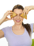 Attractive Young Woman Holding Spicy Vegetarian Samosa Savory Sn Stock Photos