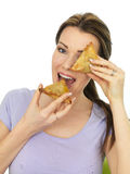 Attractive Young Woman Holding Spicy Vegetarian Samosa Savory Sn Stock Image