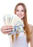 Attractive young woman holding us dollar notes Royalty Free Stock Photos