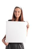 Attractive young woman holding white board Stock Photography